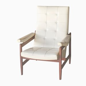 Teak and White Vinyl Lounge Chair, 1960s