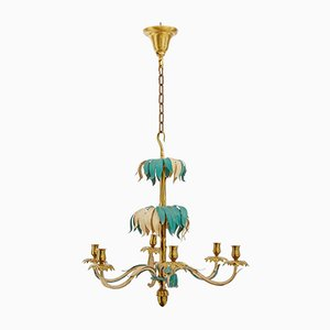 French Brass Palm Chandelier from Bagues, 1960s