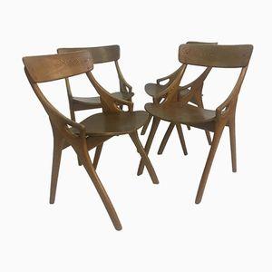 Dining Chairs by Arne Hovmand Olsen for Mogens Kold, 1950s, Set of 4