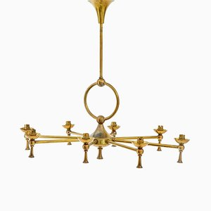 Vintage 8-Arm Brass Chandelier, 1920s