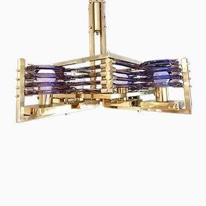Lámpara de araña dorada de Gaetano Sciolari, años 70