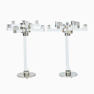Plexiglas Candelabras, 1960s, Set of 2