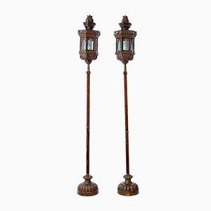 Venezianische Vintage Lampen auf Säulen aus Kupfer, 2er Set