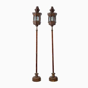 Vintage Copper Venetian Lamps on Poles, Set of 2