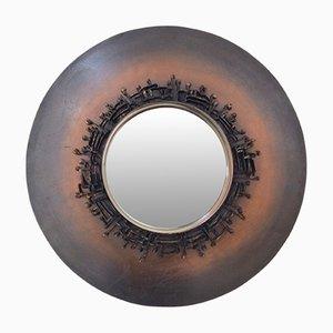 Espejo decorativo francés redondo, años 70