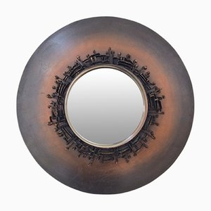 French Decorative Round Mirror, 1970s