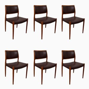 Teak & Leather Model 80 Dining Chairs by Niels Otto Möller, 1960s, Set of 6