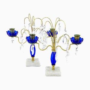 Dekorative Kerzenhalter aus Messing & geschliffenem Glas, 1930er, 2er Set