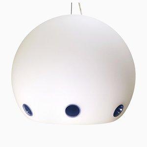 Lampe à Suspension Blanche & Verre Bleu Dépoli Halloween de Arteluce, 1978