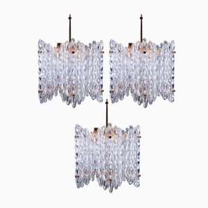Large Clear Crystal Chandelier by Carl Fagerlund for Orrefors, 1950s