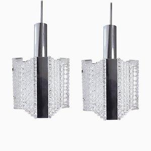 Lampes à Suspension en Verre Texturé & Chrome de Kaiser Leuchten, 1960s, Set de 2