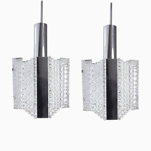 Textured Glass and Chrome Pendants from Kaiser Leuchten, 1960s, Set of 2