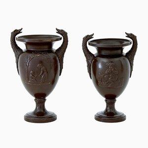 Vintage Vase mit Paar-Motiv aus Terrakotta