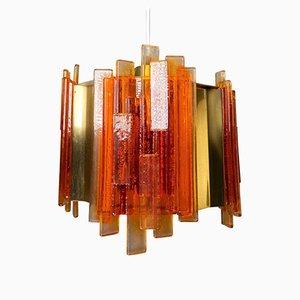 Lámpara colgante danesa era espacial de acrílico naranja y latón de Claus Bolby para CeBo Industrial, años 70