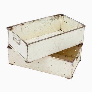 Vintage Industrial Steel Storage Boxes, 1920s, Set of 2
