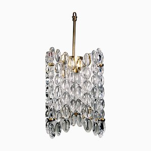 Clear Crystal Four-Plate Chandelier by Carl Fagerlund for Orrefors, 1950s
