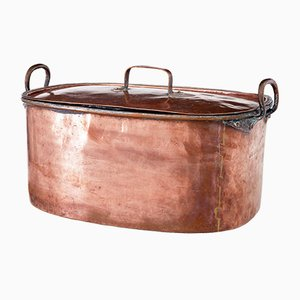 Großer antiker viktorianischer Kochtopf aus Kupfer