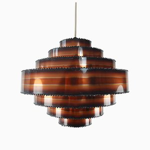 Brutalist Tiered Copper Pendant by Holm Sorensen, 1960s
