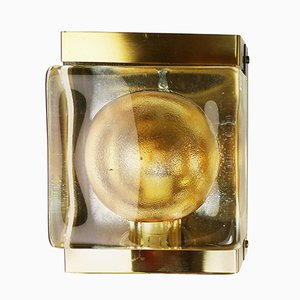 Danish Solid Glass & Brass Wall Light from Vitrika, 1960s