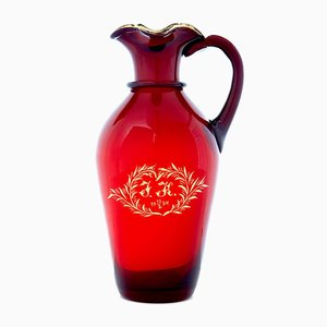 Red Art Glass Jug by Monica Bratt, 1950s