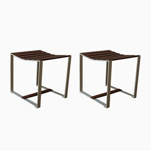 Teak & Metal Slatted Stools or Side Tables, 1960s, Set of 2