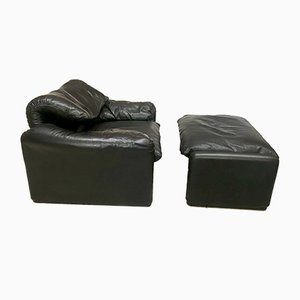Maralunga Leather Easy Chair & Ottoman by Vico Magistretti for Cassina, 1970s