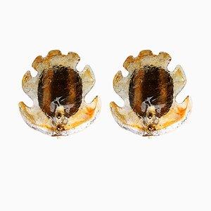 Apliques de pared de cristal de Murano dorado de Mazzega, años 60. Juego de 2