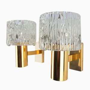 Brass and Pressed Glass Wall Lights by Carl Fagerlund for Orrefors, 1950s, Set of 2