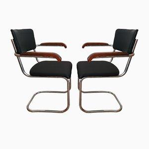 Vintage Bauhaus Freischwinger aus Stahlrohren von Kovona, 2er Set