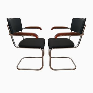 Vintage Bauhaus Steel Tube Cantilever Chairs from Kovona, Set of 2