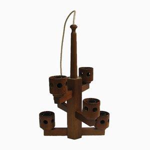 Lámpara de techo de teca, años 70