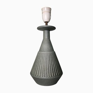 Danish Handmade Stoneware Sage Green Lamp from Soholm, 1960s