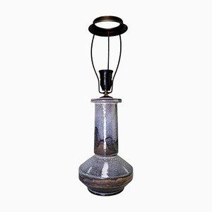 Grau, braun & schwarz-glasierte Tischlampe aus Eschenholz von Herman Kähler, 1950er