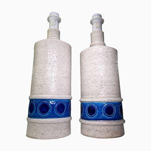 Lampe de Bureau Modèle B4/35 Blanche et Bleue en Céramique par Aldo Londi pour Bitossi, 1950s