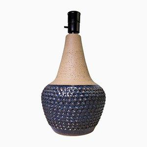 Model 3055 Deep Blue Waves Stoneware Lamp by Einar Johansen for Soholm, 1960s
