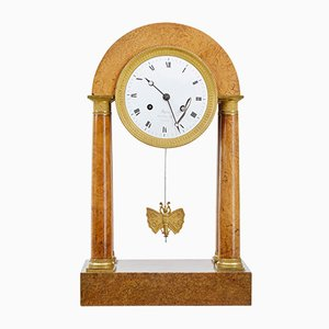 French Empire Burr Walnut Mantel Clock, 1860s