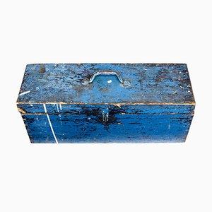 Lackierter antiker schwedischer Werkzeugkasten aus Pinienholz