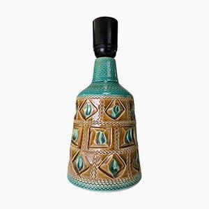 Lampada da tavolo in ceramica turchese e color caramello di Bitossi, Italia, anni '50