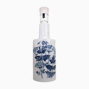 Lampe Porcelaine Motif Plante Bleue et Blanche par Kaj Lange pour Fog & Morup, 1960s