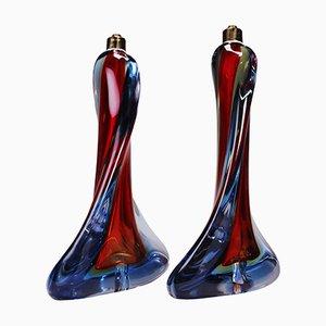 Lámparas de mesa de cristal de Murano Sommerso de colores, años 60. Juego de 2