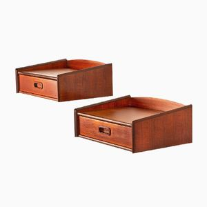 Danish Teak Floating Nightstands, 1960s, Set of 2