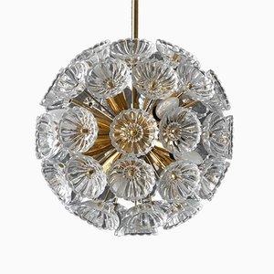Lampadario floreale in ottone e vetro, anni '60