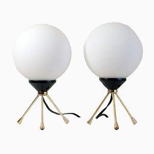 Italienische Mid-Century Dreibein Sputnik Tischlampen, 2er Set