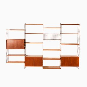 Large Teak Wall Unit by Nils & Kajsa Strinning for String, 1950s