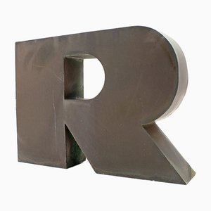 Large Copper Advertising Letter R, 1960s