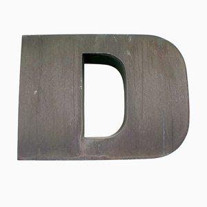 Letra D de publicidad grande de cobre, años 60