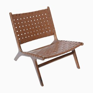 Mid-Century Woven Leather Lounge Chair, 1950s