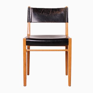 Model 3024 Oak and Leather Chair by Helmut Magg for Deutsche Werkstatten, 1950s