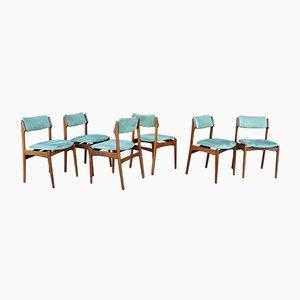 Dänische Teak und Wildleder Stühle, 1960er, 6er Set