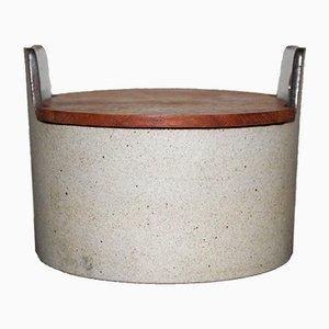 Pot en Céramique avec Couvercle en Teck de Knabstrup Atelier, Danemark, 1960s